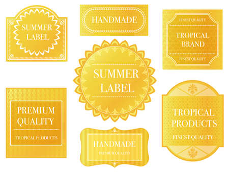 Set of assorted yellow labels with text space on a white background, vector illustration.