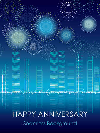 Seamless cityscape with celebration fireworks, vector illustration. Stock Illustratie