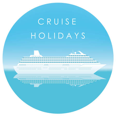 Cruise liner in the sea with text space, vector illustration.