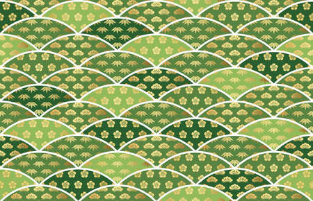 Traditionally auspicious Japanese pattern with pine, bamboo, and plum. Seamless vector illustration. Horizontally and vertically repeatable.