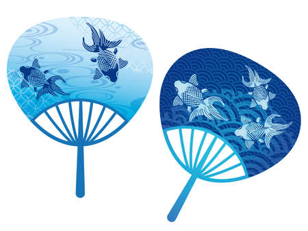 Set of two round paper fans decorated with Japanese traditional style goldfish illustrations, vector illustration. Vector Illustration