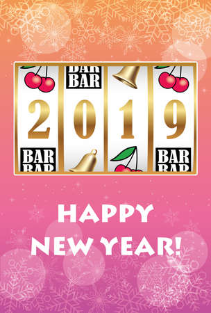Title, Description  New Year's card with coin machine showing the year 2019, vector illustration.