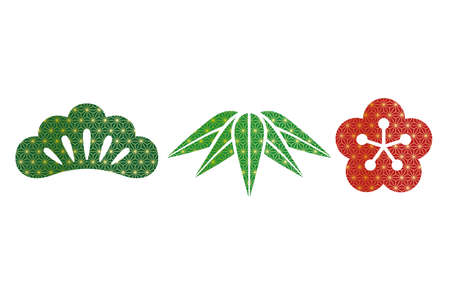 Set of Japanese traditionally auspicious botanical items: pine, bamboo, and plum, vector illustration.