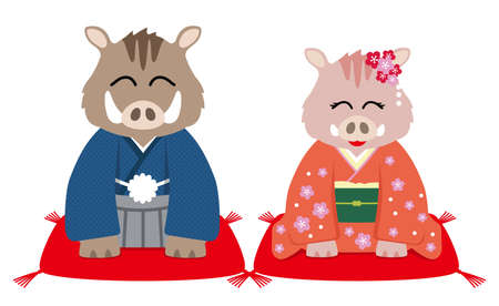 Personified wild boars dressed in traditional Japanese clothing, vector illustration.