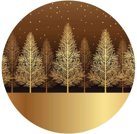 Snowy forest landscape frame, vector illustration.  イラスト・ベクター素材