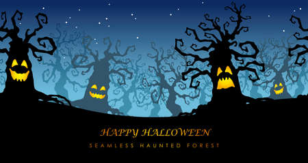 Happy Halloween seamless haunted forest with text space, vector illustration. Horizontally repeatable.