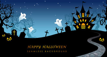 Happy Halloween seamless background with text space, vector illustration. Horizontally repeatable.