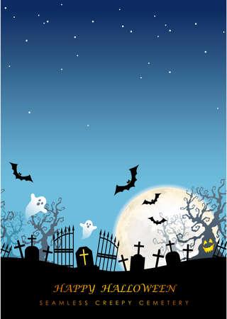 Feliz Halloween cementerio espeluznante sin fisuras con espacio de texto, ilustración vectorial. Horizontalmente repetible.
