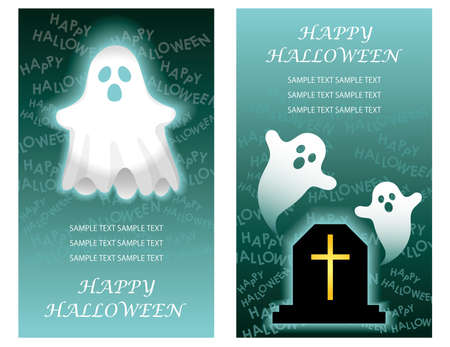 Set of two Happy Halloween greeting card templates with ghosts, vector illustration.