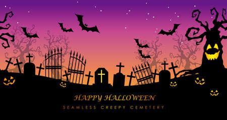 Happy Halloween seamless creepy cemetery with text space, vector illustration. Horizontally repeatable.