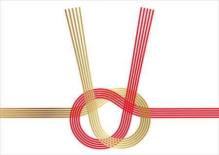 Mizuhiki - Japanese decoration strings - for New Year's greeting cards, vector illustration. Stock Illustratie