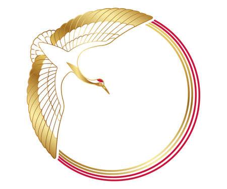 Marco de felicitación de año nuevo con un símbolo auspicioso - grúa - y cadenas de decoración, ilustración vectorial.