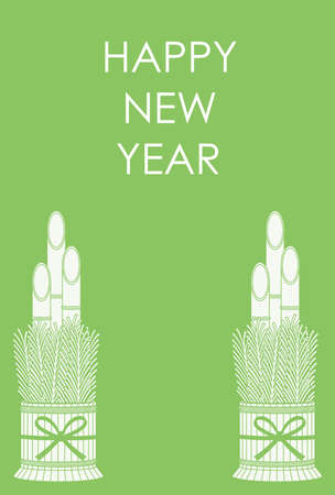 New Year's greeting card with a pair of Kadomatsu, traditional Japanese decoration to welcome ancestral spirits, vector illustration.