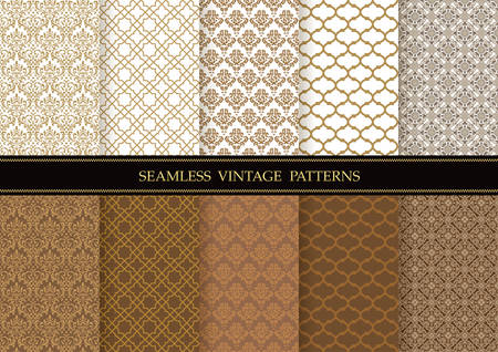 Set of damask vintage seamless patterns, vector illustration. Horizontally and vertically repeatable.  イラスト・ベクター素材
