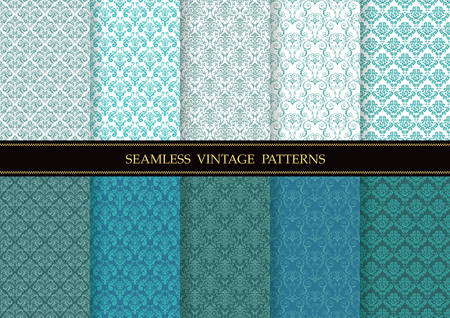 Set of damask vintage seamless patterns, vector illustration. Horizontally and vertically repeatable. Иллюстрация