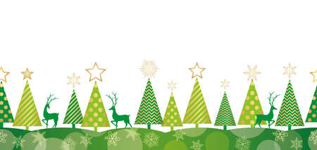Christmas seamless forest background, vector illustration. Horizontally repeatable.