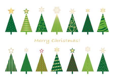 Set of assorted Christmas trees, vector illustration.