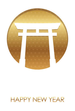 New Year's card template with a gateway to a Shinto shrine and text space, vector illustration.