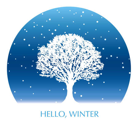 Circle winter background with a snow-covered tree and text space, vector illustration.