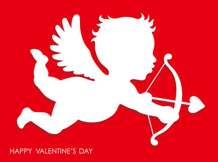 Valentine's Day 3D relief cupid icon, vector illustration.