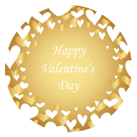 Valentine's Day abstract round background with text space, vector illustration.