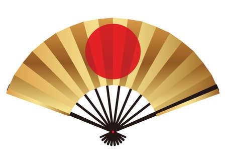 Ventaglio pieghevole con un simbolo del cerchio rosso, illustrazione vettoriale.