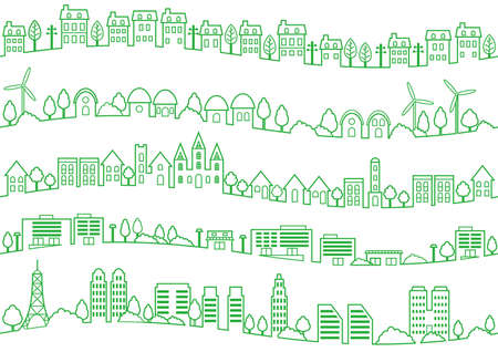 Seamless townscape set, vector illustration. Horizontally repeatable.