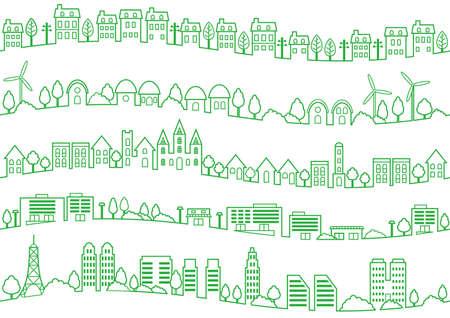 Seamless townscape set, vector illustration. Horizontally repeatable.