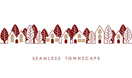 Seamless townscape, vector illustration. Horizontally repeatable.