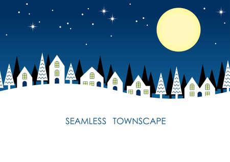 Seamless townscape, vector illustration. Horizontally repeatable.