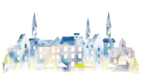 Watercolor European townscape, vector illustration.