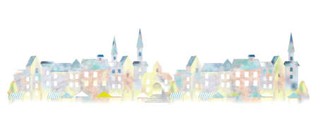 Aquarelle paysage urbain européen, illustration vectorielle. Vecteurs