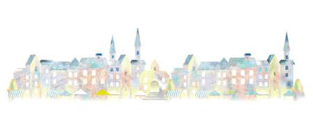 Paesaggio urbano europeo dell'acquerello, illustrazione vettoriale. Vettoriali