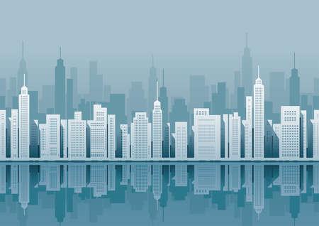Paisaje urbano sin costuras, ilustración vectorial. Horizontalmente repetible. Ilustración de vector