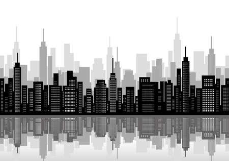 Seamless cityscape, vector illustration. Horizontally repeatable.