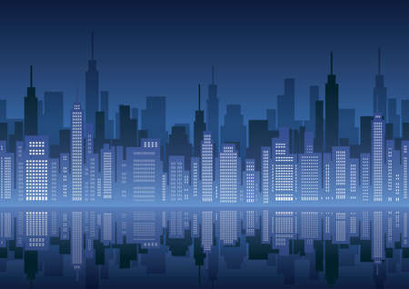 Seamless cityscape, vector illustration. Horizontally repeatable.