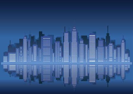 Cityscape silhouette, vector illustration. Çizim