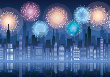 Seamless cityscape with skyscrapers and fireworks, vector illustration. Horizontally repeatable.