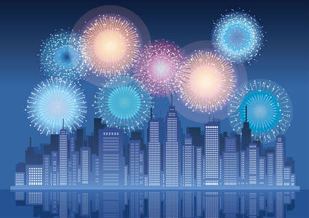 Cityscape with skyscrapers and fireworks, vector illustration.
