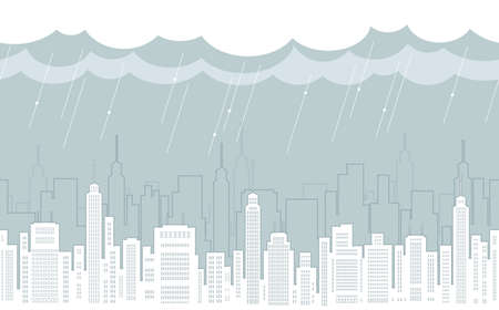 Seamless cityscape drawing with skyscrapers, vector illustration. Horizontally repeatable.