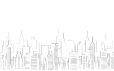 Dibujo de paisaje urbano sin fisuras con rascacielos, ilustración vectorial. Horizontalmente repetible.