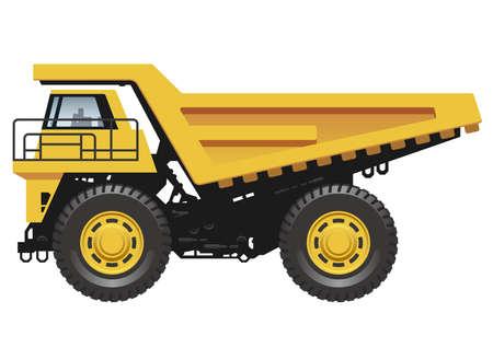 Big dump truck isolated on a white background, vector illustration. Ilustración de vector