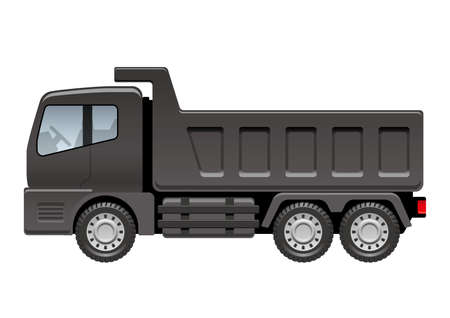 Black dump truck isolated on a white background, vector illustration.