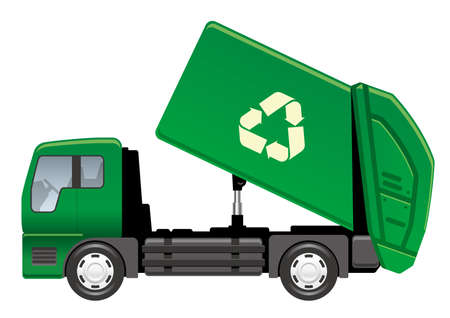Garbage truck isolated on a white background, vector illustration.