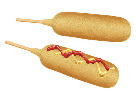 Set of two corn dogs isolated on a white background, vector illustration.