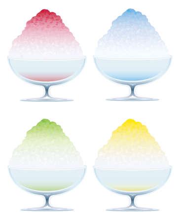 Satz von vier rasiertem Eis lokalisiert auf einem weißen Hintergrund, Vektorillustration. Vektorgrafik
