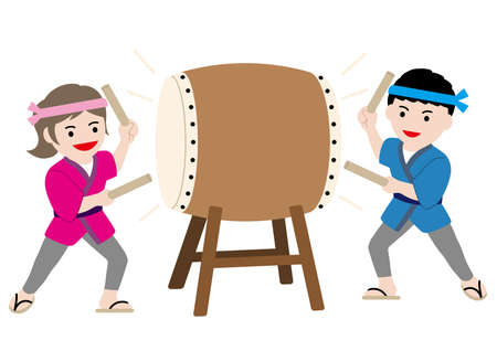 Man and woman performing traditional taiko drum, vector illustration.  イラスト・ベクター素材