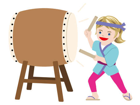 Woman performing traditional taiko drum, vector illustration.  イラスト・ベクター素材