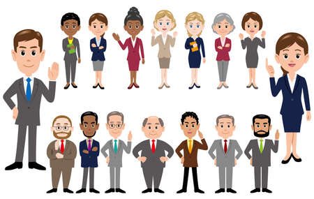 Set of business people, office workers in different poses. Vector illustration.  イラスト・ベクター素材