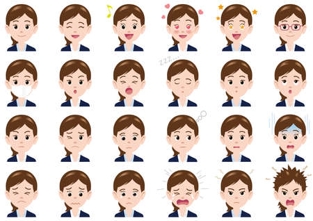 Businesswoman various expressions set. Vector characters isolated on a white background. Vectores